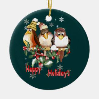 Ornamento feliz de los pájaros del navidad del día adorno navideño redondo de cerámica