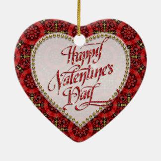 Ornamento feliz del corazón del amor de la tarjeta adorno navideño de cerámica en forma de corazón