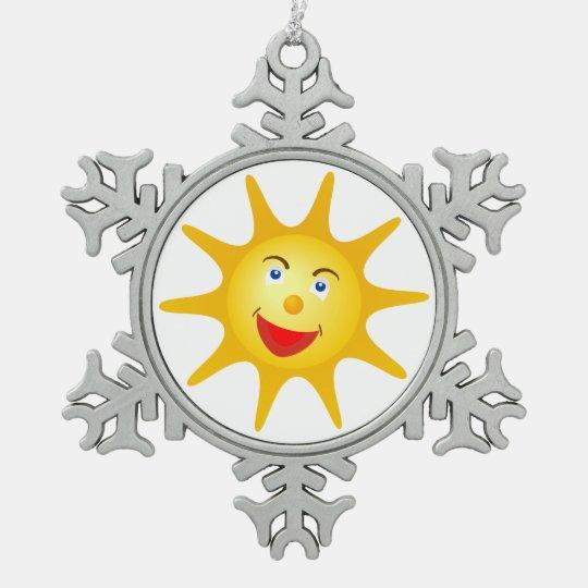 Ornamento feliz lindo del navidad de Sun Adorno De Peltre En Forma De Copo De Nieve