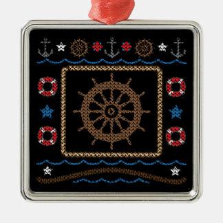 Ornamento feo del suéter de la rueda náutica de adorno navideño cuadrado de metal