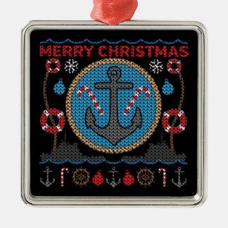 Ornamento feo del suéter del navidad del ancla adorno navideño cuadrado de metal