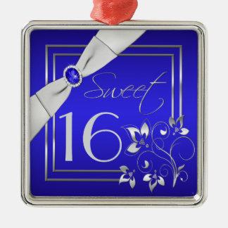 Ornamento floral azul y de plata del dulce adorno cuadrado plateado