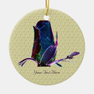 Ornamento floral del capullo de rosa azul eléctric ornamento de navidad
