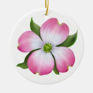 Ornamento floral del Dogwood rosado Adorno Navideño Redondo De Cerámica