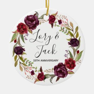 Ornamento floral del navidad para el aniversario