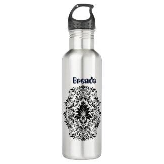 Ornamento floral negro botella de agua
