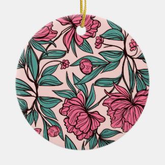 Ornamento floral rosado dibujado mano preciosa del