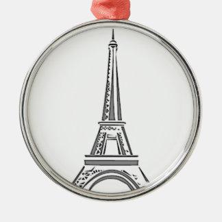 Ornamento francés del navidad de París de la torre Adorno Navideño Redondo De Metal