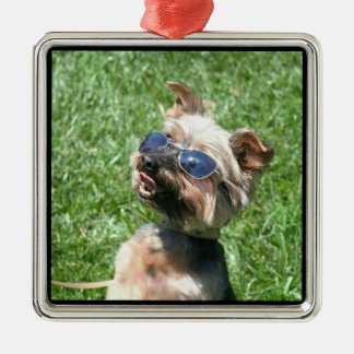 Ornamento fresco de Yorskshire Terrier Adorno Navideño Cuadrado De Metal