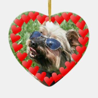 Ornamento fresco de Yorskshire Terrier Adorno Navideño De Cerámica En Forma De Corazón