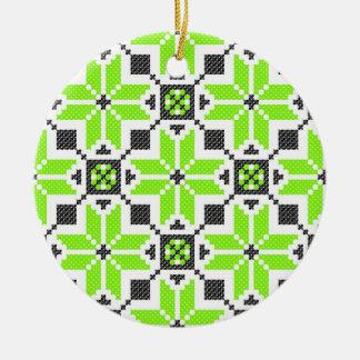 Ornamento fresco verde fluorescente del círculo de ornamentos de navidad