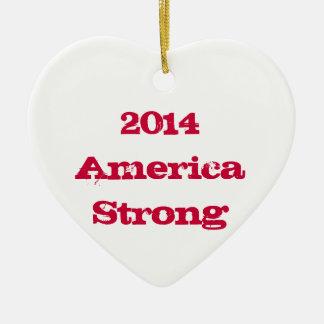 Ornamento fuerte 2014 del navidad de América Adorno Navideño De Cerámica En Forma De Corazón