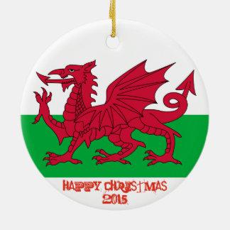 Ornamento galés del navidad de la bandera del adorno navideño redondo de cerámica