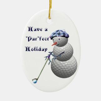Ornamento Golfing de los regalos del navidad de Adorno Navideño Ovalado De Cerámica