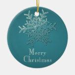 Ornamento grabado del navidad del copo de nieve