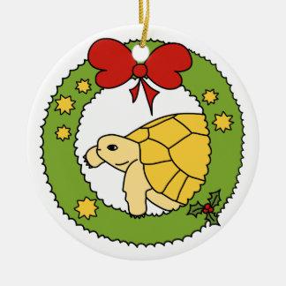 Ornamento griego de oro del navidad de la tortuga adorno redondo de cerámica