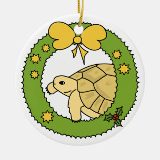 Ornamento griego del navidad de la tortuga adorno redondo de cerámica