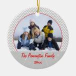 Ornamento gris de la foto del navidad del zigzag d ornamentos para reyes magos