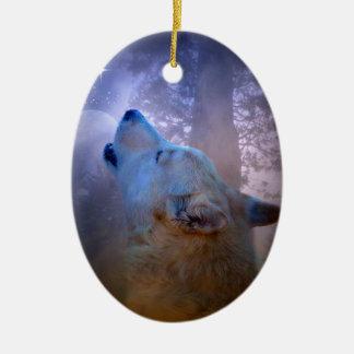 Ornamento hermoso de Navidad del lobo y de la luna