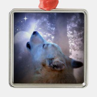 Ornamento hermoso del navidad del lobo y de la