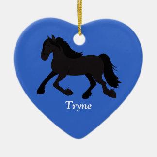 Ornamento HOLANDÉS FRISIO del personalizado del Adorno Navideño De Cerámica En Forma De Corazón
