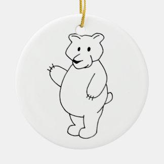Ornamento incoloro del oso de la lógica de la adorno navideño redondo de cerámica