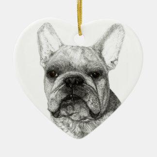 Ornamento inglés del navidad 2016 del dogo adorno navideño de cerámica en forma de corazón