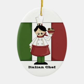 Ornamento italiano de la cocina del cocinero #3 adorno navideño ovalado de cerámica