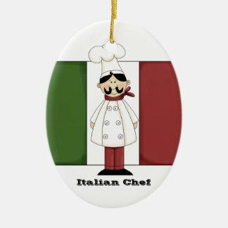 Ornamento italiano de la cocina del cocinero #6 adorno navideño ovalado de cerámica