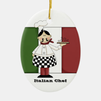 Ornamento italiano de la cocina del cocinero #7 adorno navideño ovalado de cerámica