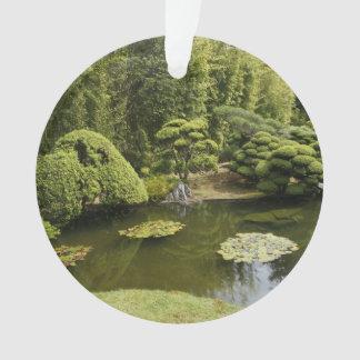 Ornamento japonés de la charca del jardín de té de