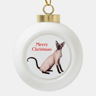 Ornamento joven amistoso del navidad del gato adorno de cerámica en forma de bola