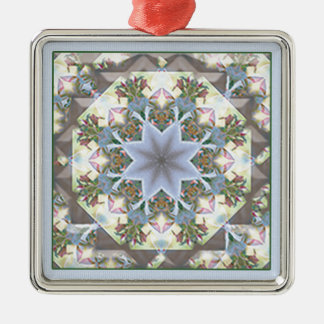 Ornamento/lavanda del cuadrado de la mandala de la adorno navideño cuadrado de metal