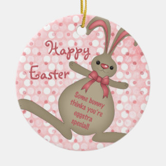 Ornamento lindo de Pascua del conejo de conejito Adorno Navideño Redondo De Cerámica