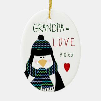 Ornamento lindo del abuelo del amor de 2016 adorno navideño ovalado de cerámica