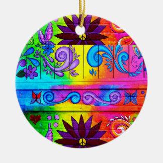 ornamento maravilloso del hippie de los años 70 adorno redondo de cerámica