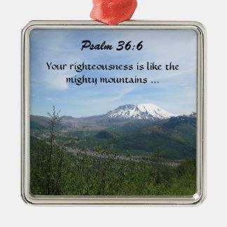 Ornamento mountian del salmo adorno navideño cuadrado de metal