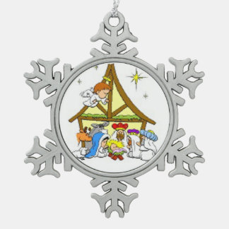 Ornamento/natividad del copo de nieve del estaño adorno de peltre en forma de copo de nieve