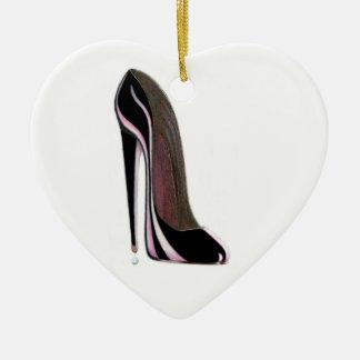 Ornamento negro del corazón del zapato del ornamentos de navidad