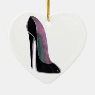 Ornamento negro del corazón del zapato del ornamento para reyes magos