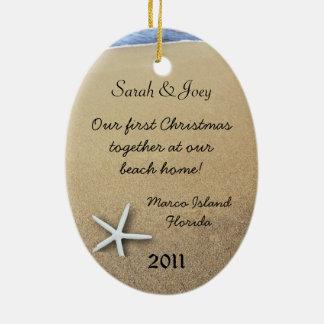 Ornamento oval de encargo del navidad de los pares