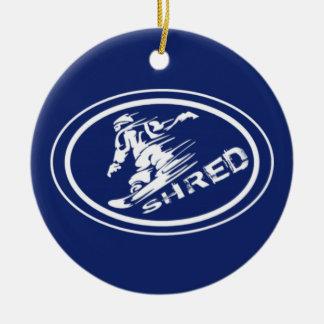 Ornamento oval de la etiqueta del Snowboarder del