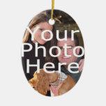 Ornamento oval del navidad de la foto de encargo ornamentos de navidad