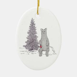 """Ornamento oval """"Tis del oso lindo la estación """""""