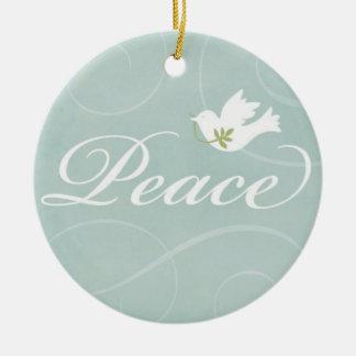 Ornamento pacífico del navidad de la paloma adorno navideño redondo de cerámica