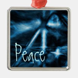 Ornamento, paz, azul eléctrico adorno de navidad