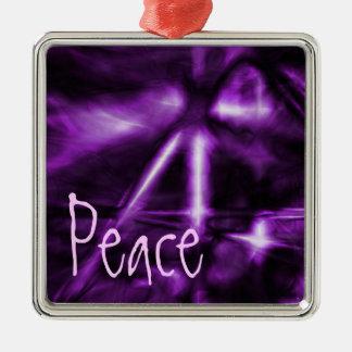 Ornamento, paz, púrpura eléctrica adorno cuadrado plateado