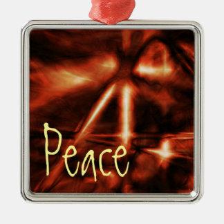 Ornamento, paz, rojo anaranjado eléctrico adorno cuadrado plateado