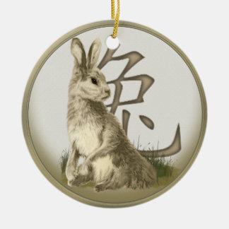 Ornamento personalizado conejo chino del Año Nuevo Adorno Navideño Redondo De Cerámica