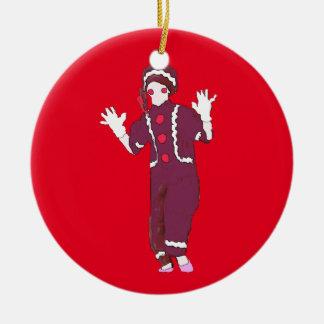 Ornamento personalizado de la broche del jengibre adorno navideño redondo de cerámica